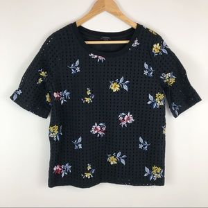 Ann Taylor Floral Embroidered Eyelet Cotton Top